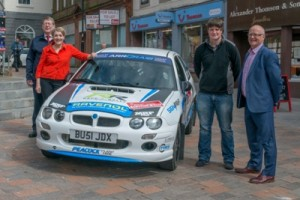 L-R: RSAC Scottish Rally CofC Jonathan Lord, The Lord Lieutenant of Dumfriesshire & journalist Fiona Armstrong, local rally driver Keith Riddick, Communities Director of Dumfries and Galloway Council Derek Crichton. (Image by: www.scottish-images.co.uk)